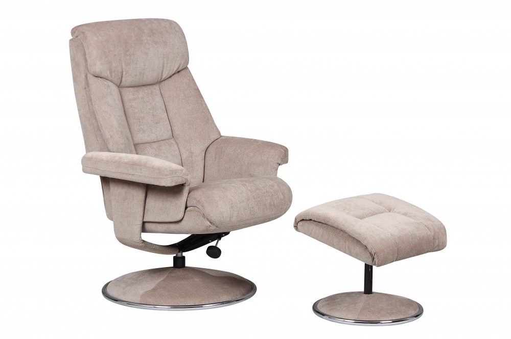 Biarritz Recliner Chair and Footstool in Mist Fabric