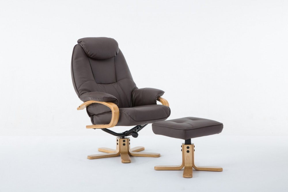 Pisa Plush Recliner Chair and Footstool in Brown