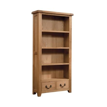 Somerville Light Oak Waxed 2 Drawer Bookcase 900 x 1800