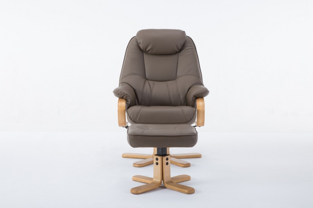 Pisa Plush Recliner Chair and Footstool in Truffle