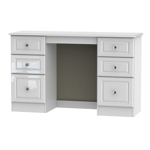 Balmoral 6 Drawer Kneehole Dressing Table in White High Gloss with Crystal Effect Handles