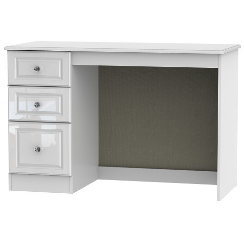 Balmoral Office/Bedroom 3 Drawer Desk in White High Gloss with Crystal Effect Handles