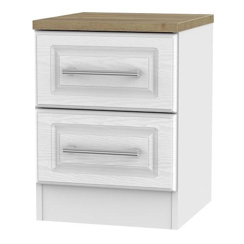Kent 2 Drawer Bedside Locker in White Ash and Oak