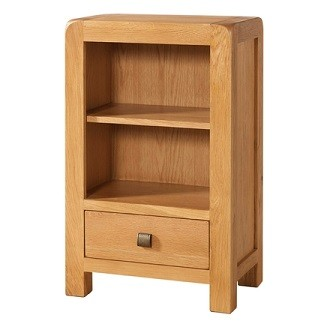 Avondale Waxed Oak Low Bookcase with 1 Drawer