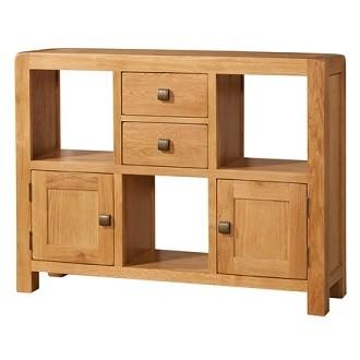 Avondale Waxed Oak Low 2 Door 2 Drawer Display Unit