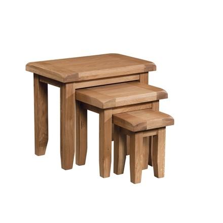 Somerville Light Oak Waxed Nest of 3 Tables