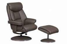 Biarritz Plush Bonded Leather Recliner Chair and Footstool in Charcoal