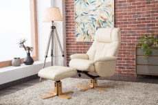 Denby Plush Recliner Chair and Footstool in Cream