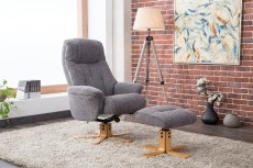 Denby Recliner Chair and Footstool in Lisbon Grey Fabric