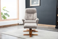 Denby Recliner Chair and Footstool in Lisbon Mocha Fabric