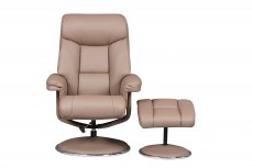 Biarritz Plush Bonded Leather Recliner Chair and Footstool in Earth
