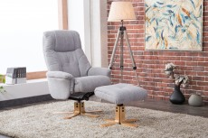 Denby Recliner Chair and Footstool in Lisbon Silver Fabric
