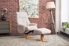 Denby Recliner Chair and Footstool in Lisbon Wheat Fabric