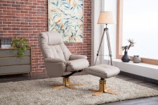 Denby Plush Recliner Chair and Footstool in Pebble