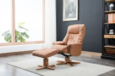 Denby Plush Recliner Chair and Footstool in Tan