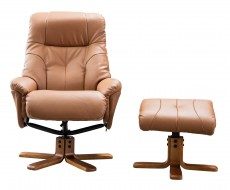 Dubai Plush Recliner Chair and Footstool in Tan