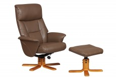 Mayfield Faux Leather Recliner Chair and Footstool in Truffle