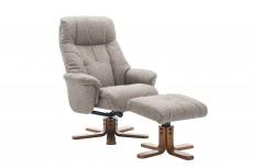 Dubai Recliner Chair and Footstool in Lisbon Mocha Fabric