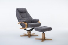 Pisa Fabric Recliner Chair and Footstool in Lisbon Grey
