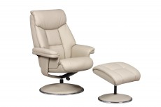 Biarritz Plush Recliner Chair and Footstool in Bone