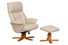 Marseille Faux Leather Recliner Chair and Footstool in Cafe Latte