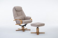 Pisa Fabric Recliner Chair and Footstool in Lisbon Wheat