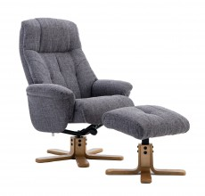 Dubai Recliner Chair and Footstool in Lisbon Grey Fabric