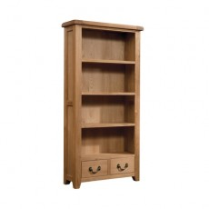 Somerville Light Oak Waxed 2 Drawer Bookcase 900 x 1800