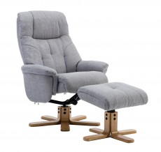 Dubai Recliner Chair and Footstool in Lisbon Silver Fabric