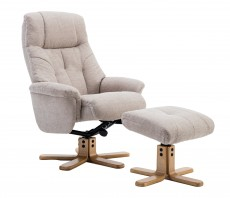 Dubai Recliner Chair and Footstool in Lisbon Wheat Fabric