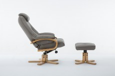Pisa Plush Recliner Chair and Footstool in Pebble