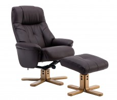 Dubai Plush Recliner Chair and Footstool in Brown