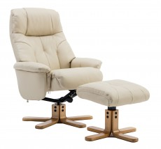Dubai Plush Recliner Chair and Footstool in Cream