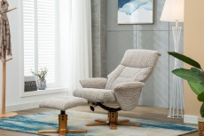Marseille Recliner Chair and Footstool in Wheat Fabric