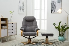 Linton Fabric Recliner Chair and Footstool in Lisbon Grey