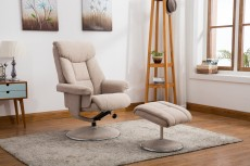 Biarritz Recliner Chair and Footstool in Lisbon Wheat Fabric