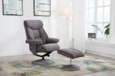 Biarritz Recliner Chair and Footstool in Lisbon Grey Fabric