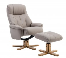 Dubai Plush Recliner Chair and Footstool in Pebble