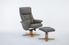 Marseille Faux Leather Recliner Chair and Footstool in Grey