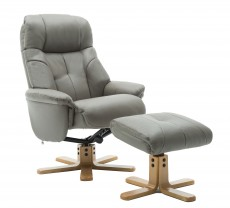Dubai Plush Recliner Chair and Footstool in Grey
