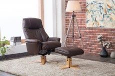 Denby Plush Recliner Chair and Footstool in Brown