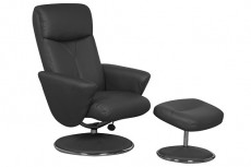 Carlton Faux Leather Reclining Armchair and Footstool in Black