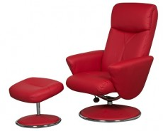 Carlton Faux Leather Reclining Armchair and Footstool in Red