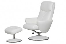 Carlton Faux Leather Reclining Armchair and Footstool in White