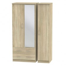 Avon Triple 2 Drawer Mirror Wardrobe (available in 4 colour finishes)