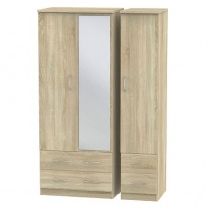Avon Triple 4 Drawer Mirror Wardrobe (available in 4 colour finishes)