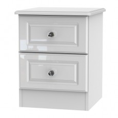 Balmoral 2 Drawer Bedside Locker in White High Gloss with Crystal Effect Handles