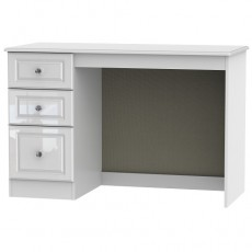 Vermont Gloss Office/Bedroom 3 Drawer Desk in White High Gloss with Crystal Effect Handles