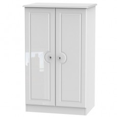 Balmoral 2ft 6 Plain Midi Wardrobe in White High Gloss with Crystal Effect Handles