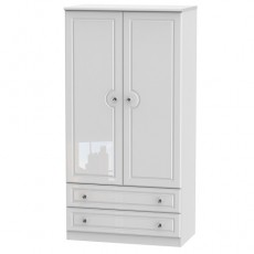 Balmoral 3ft 2 Drawer Wardrobe in White High Gloss with Crystal Effect Handles